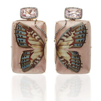 Marquetry Pink Butterfly Earrings | Moda Operandi