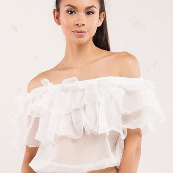 White Ruffle Off-Shoulder Scrunch Blouse