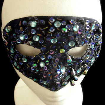 Blue Bead Mask, Hand Beaded Mask, Upcycled New Years Eve Masquerade Mask, Lace Mask, Glamorous Glimmering Blue Bead Mask, Free US Shipping