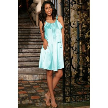 Light Blue Charmeuse Halter Swing Spring Summer Party Dress - Women