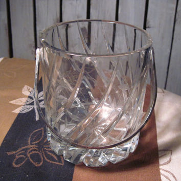 Crystal Ice Bucket with Silver Handle, Cut and Etched, Very Pretty, Great Gift!