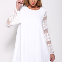 White Flared Sleeves Double Layered  Shift Dress