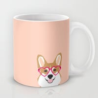 Corgi Love - Valentines heart shaped glasses on funny dog for dog lovers pet gifts customizable dog Mug by PetFriendly