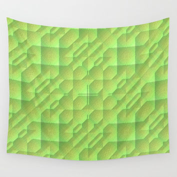Green/Tan Pattern with a Raised Appearance Wall Tapestry by Lyle Hatch