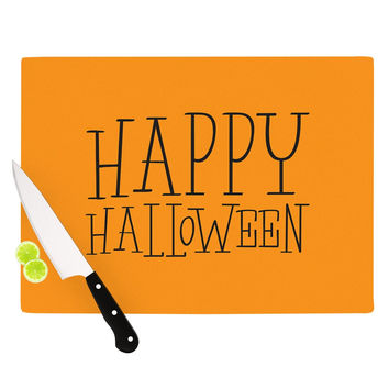 "KESS Original ""Happy Halloween - Orange"" Cutting Board"