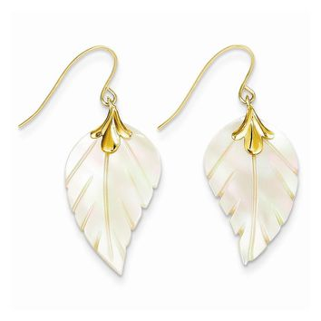 14k Yellow Gold Madi K. Mother of Pearl Leaf Dangle Earrings