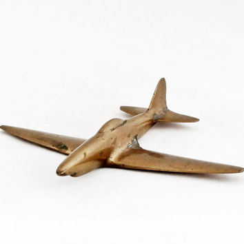 1940s Vintage Art Deco Airplane Supermarine Spitfire British Aircraft Metal Plane