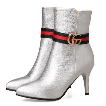 GUCCI Fashion New Leather Stripe Pointed Boots High Heels Shoes Women Silver