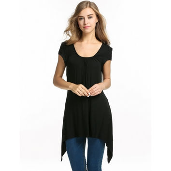 Womens Short Sleeve Scoop Neck Handkerchief Hem Tunic Top