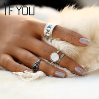 Ring Set Hollow Antique Silver Color Lucky Midi Rings for Women 2017 Boho Jewelry Knuckle bague