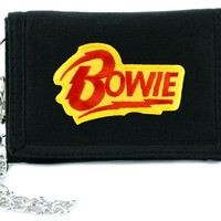 David Bowie Lighting Bolt Tri-fold Wallet w/ Chain Alternative Clothing
