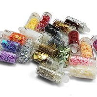 Hongnuo 20 Types Nail Art Mini Glitter Sheets Acrylic Tips by Hongnuo
