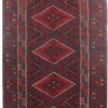 (24x105 in) Tribal Hand-Knotted Runner 2x9 Red-Blue Rug