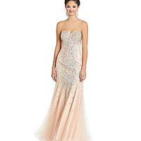 Glamour by Terani Couture Beaded Mesh Trumpet Gown | Dillards.com