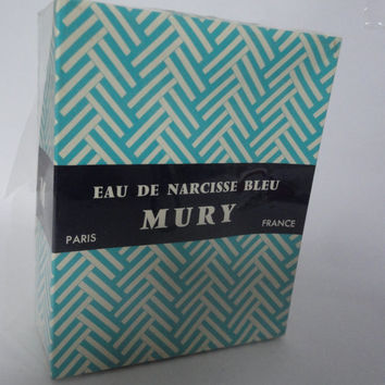 Vintage Eau de Narcisse Blue by Mury, about 100ml??? Full bottle incl. box