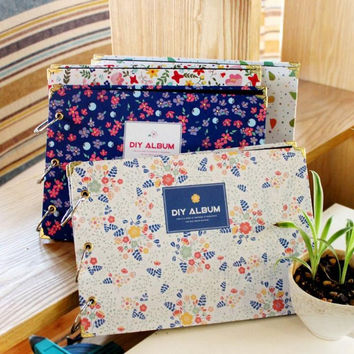 New DIY Blue Green Flower Photo Picture Album Book Love Memory Self Sticking