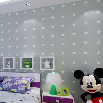 American Style Non-woven Pointed Star Wallpaper For Cartoon Children's Room Bedroom Boys Room Walls Home Decoration Wallpaper