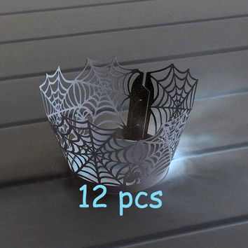 Halloween cake holder black party cake Stencil Spiderweb Cupcake Wrappers spiderman laser cut wrapper cobweb lace black lace wrapper