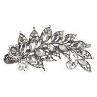 Aeropostale  Jeweled Leaf Hair Clip - Silver, One