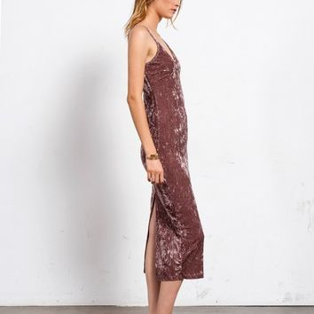 CRUSHED ROSE VELVET DRESS