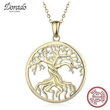 Dorado Fashion Pure 925 Sterling Silver Tree of Life Pendant Necklaces Memory Locket Charm Necklace For Women