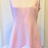 Vintage 1960's Dress - Mod Dress - Kay Windsor - Pink Dress- White - Geometric Print - Dots & Stripes - Size Large - The Look You Love