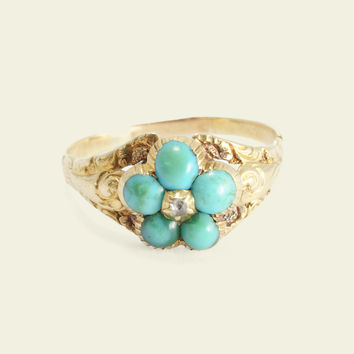 Mid Victorian Turquoise and Diamond Forget Me Not Ring