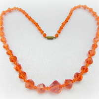 Antique Vintage Orange Crystal Necklace, Faceted Lucite Crystals, Orange Beaded Necklace, 1940s WWII Sweethart Antique Costume Jewelry
