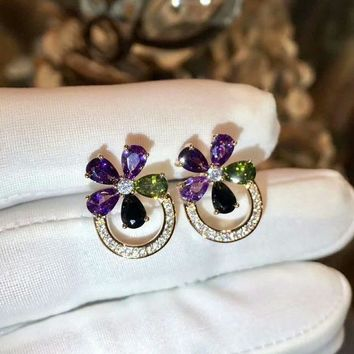 ICIKG2C 2018 New Bvlgari purple green gemstone colourful brick and stone high-end fashion jewelry S925 Sterling Silver Earring cartilage hoop   stud drop