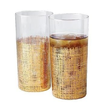 Set of 4 Crosshatch Gold Glasses