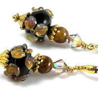 Black Floral Lampwork Earrings Brown Flowers Tigers Eye Swarovski Crystals