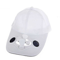 XIQI Solar Powered Air Fan Cooled Baseball Hat Solar Panel on the Cap Front Eco Friendly Camping Traveling Christmas Gift (WHITE)
