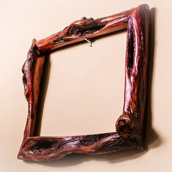 8x10 Dark Red Handcrafted Canadian Diamond Willow Frame