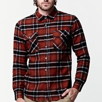 Brixton Bowery Rust Flannel Shirt - Mens Shirts - Red