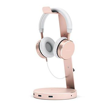 Aluminum USB Headphone Stand Holder with Three USB 3.0 Ports and 3.5mm AUX port - Suitable For All Headphone Sizes