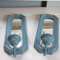 Sale, Vintage, Light Blue Wall Shelf and Two Matching Wall Sconces by Burwood Products, Wall Mirror