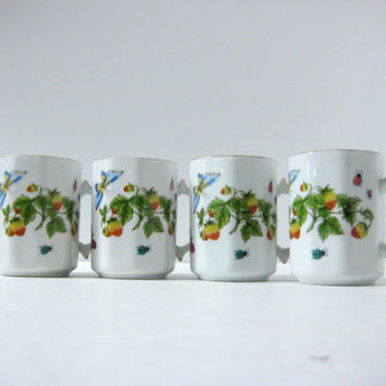 Coffee Mugs Lenwile Ardalt China Porcelain Cups Strawberries and Butterflies Tea / Coffee Mugs / Cups Set of 4
