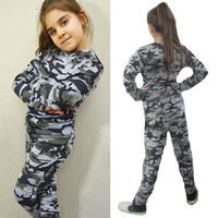 Girls or Boys Cotton Camouflage Shirt and Pants Set
