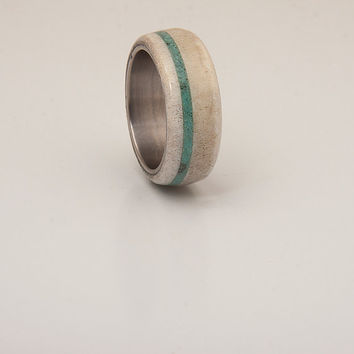 Antler turquoise ring mens wedding band titanium turquoise band
