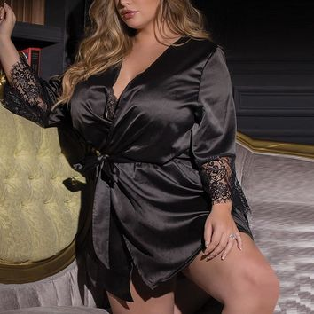 Luxury Women Nightwear Sexy Silk Kimono Dressing Gown Babydoll Lace Lingerie Bath Robe Nightwear Bodycon MIni Dress