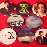 8 The X-Files Pin Buttons 1.25 Inch Diameter