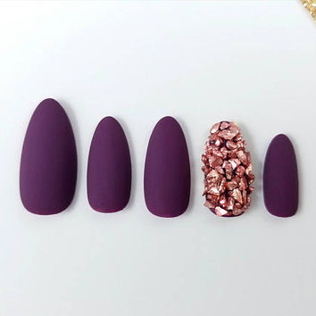 Dark purple Matte press on nails with Rose stones - Any shape - Reusable - Glue or nail tabs included - Coffin Stiletto Almond Oval Round