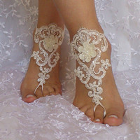 ivory beach wedding barefoot sandals modern toe shoe wedding shoe bridal beach shoes bellydance prom wedding party