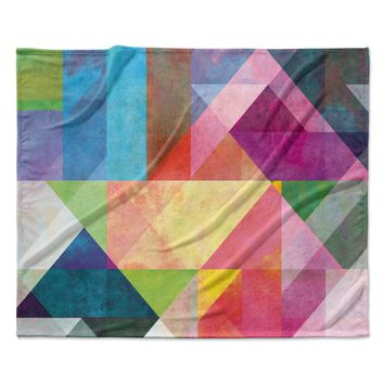 "Mareike Boehmer ""Color Blocking"" Rainbow Abstract Fleece Throw Blanket"