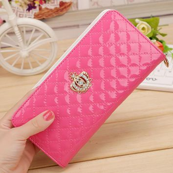 women quilted long wallet crown purse women Wallet With Coin Bag Crown clutch bag carteras female LXX9