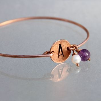 Personalized intial monogram birthstone charm bangle bracelet copper sterling Bridesmaids gifts Free US Shipping handmade Anni Designs