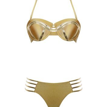 Gold Halter Neck Top and Lace Up Bottom Bikini Set