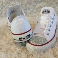 DCKL9 White bling converse. Great wedding shoes.
