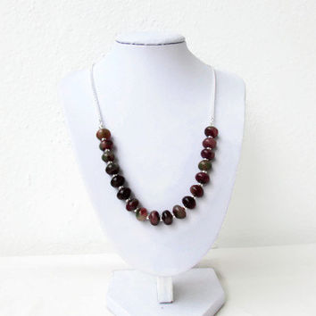 Rosy apple jade necklace, semi precious gemstone necklace, red green unusual gemstone, adjustable necklace, gift for her, Handmade in the UK