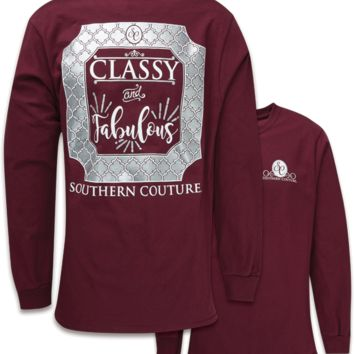Southern Couture Preppy Classy & Fabulous Maroon Long Sleeve T-Shirt